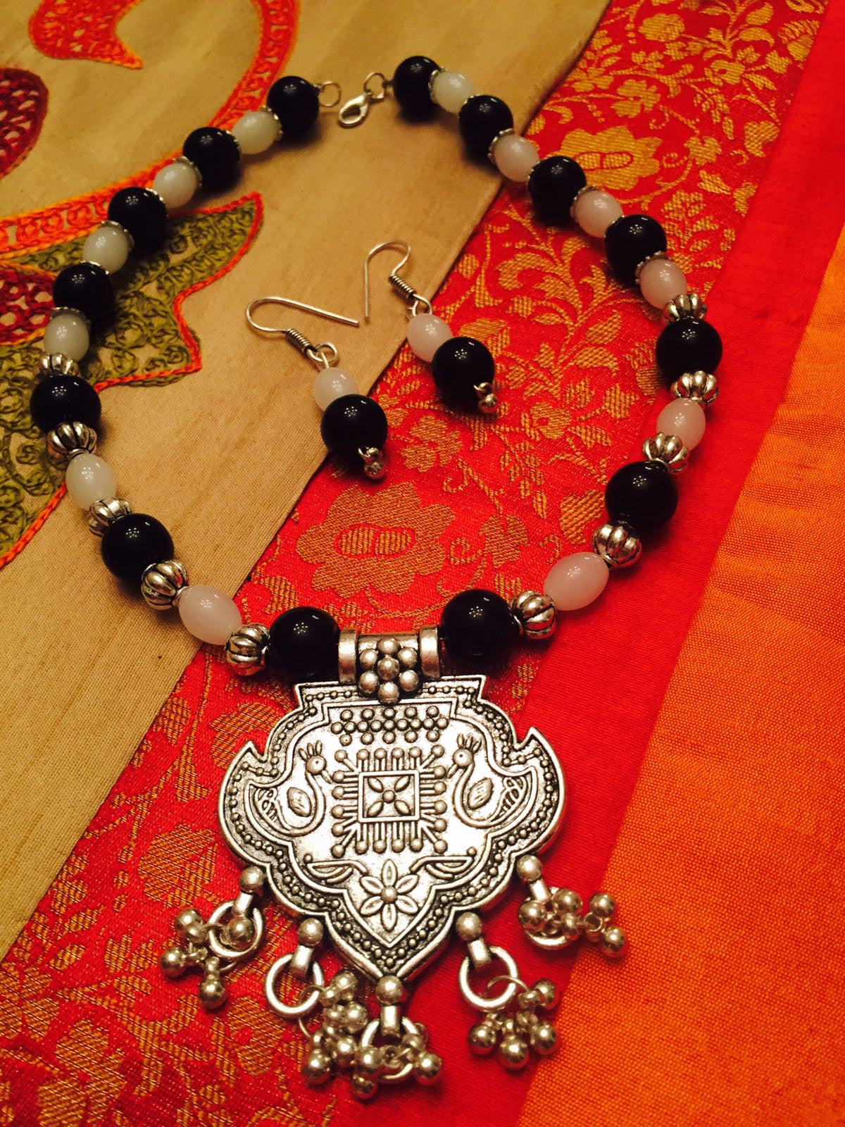 Traditional Silver Necklace With Colored Beads And Matching Earrings