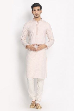 Manyavar Designer Stylish Classic Beige Biscuit Colored Cotton Kurta Pajama Set