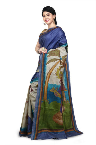 Blue Multi Color Purely Hand Painted Pure Tussar Silk Kantha Stitch Saree