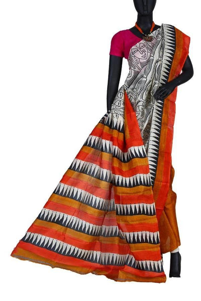 Off White Festive Silk Hand Painted Saree