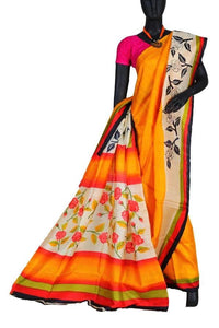 Mustard Indian Trendy Hand Painted Saree