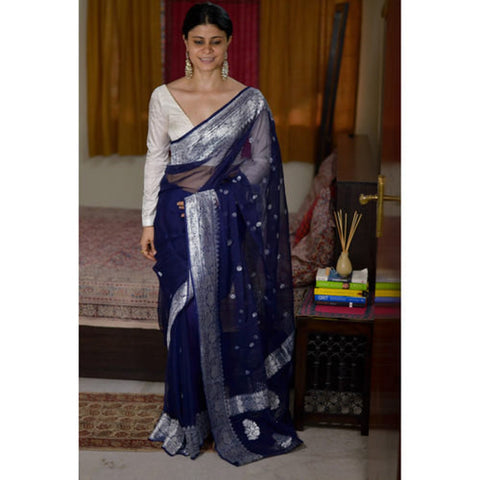 Deep Navy Blue Handwoven Khaddi Chiffon Georgette Saree with Pure Silver Zari
