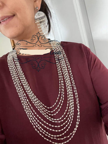 Multilayered Pearls Necklace with Earrings