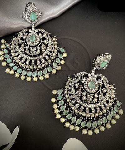 Mint Green Stone CZ Pearl Earrings in Victorian Finish |