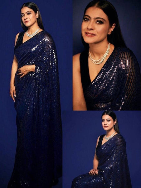 Navy Blue Sequin Sequence Chiffon Saree