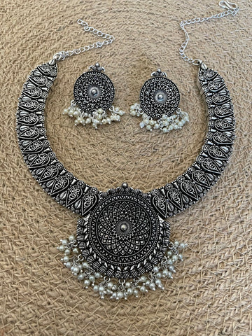 Oxidized German Silver Hasli Style Choker and Earring Set