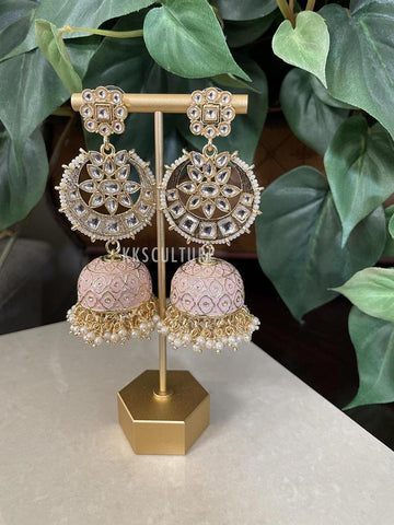 Gorgeous Baby Pink Dabi Kundan Meenakari Pearl Drops Chandbali Long Jhumka Earrings