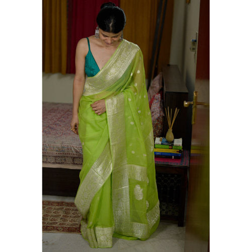 Pure Pastel Green and Silver Handwoven Khaddi Chiffon Georgette Saree