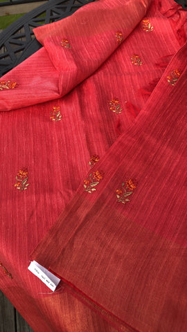 Iridescent Peach Tussar Silk Saree