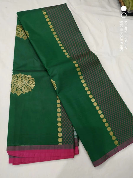 Forest Green and Pink Handloom Silk Saree