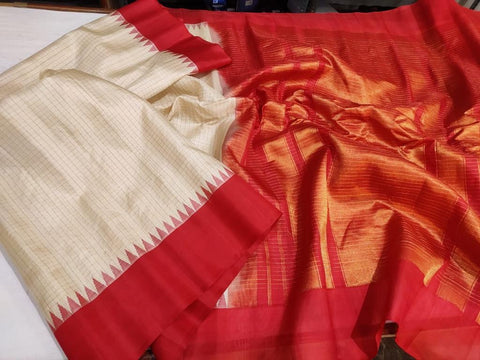 Red and White Pure Silk Gadwal with Temple Border