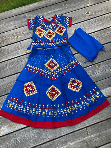 Girls Handmade Lehenga Ghagra Choli Blue and Maroon chaniya choli For Girls Ethnic Indian Dress