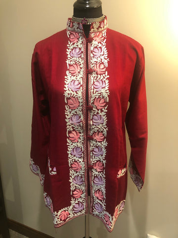 Maroon Pure Wool Kashmiri Multicolored Embroidered Jacket