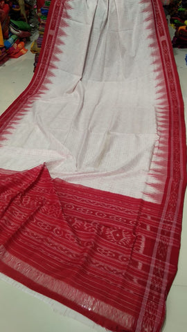 Red and White Pure Cotton Sambalpuri Ikkat Saree
