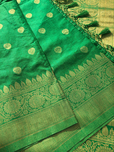 Green and Gold Crepe Silk Saree with Golden Butta's and Tassel on Aachal
