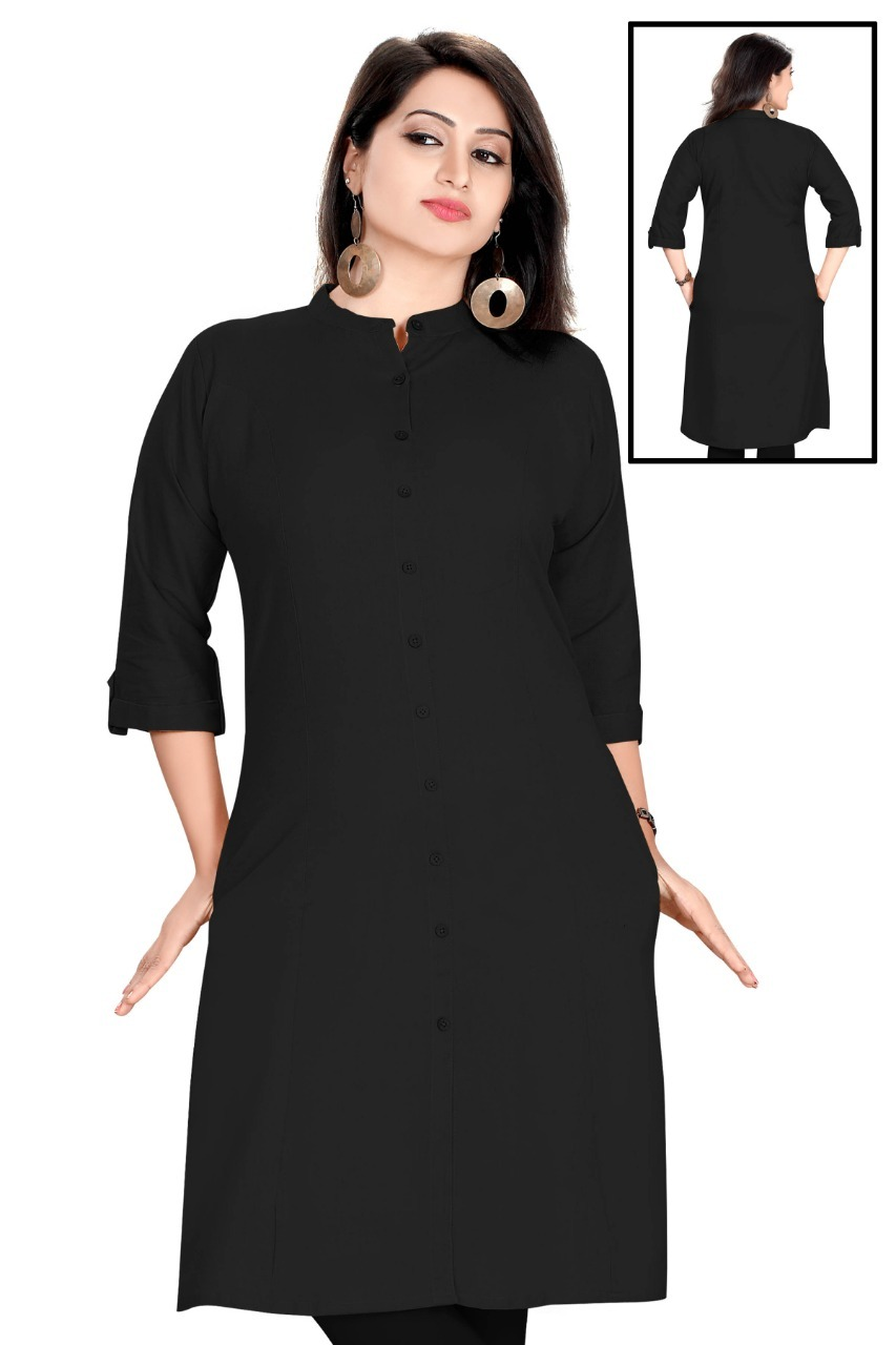 Contemporary Bold Black Color Colar Kurta With Pockets