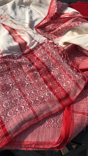 Bengali Pure Handloom Red and White Cotton Saree