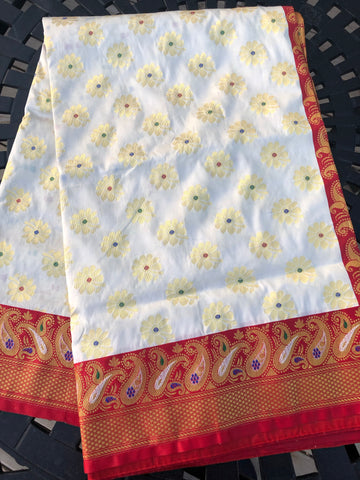 Red and White Kanchi Silk Saree with Golden Butta's
