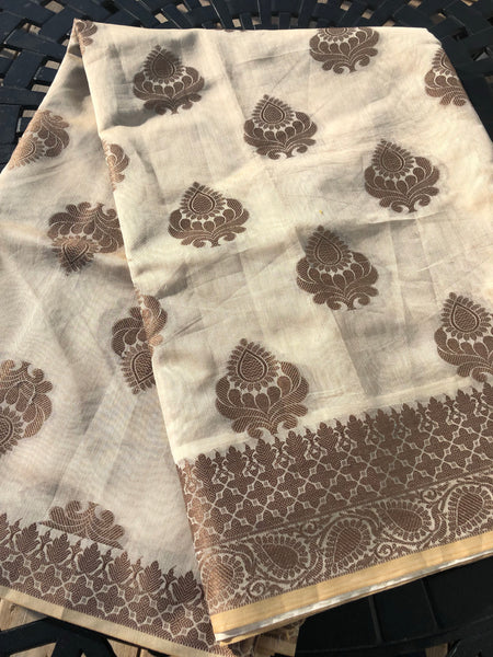 Beige and White Maheshwari Silk Saree with Floral Butta's all over with a Copper border and Aachal
