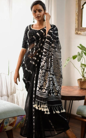 Black and White Cotton Jamdani Saree