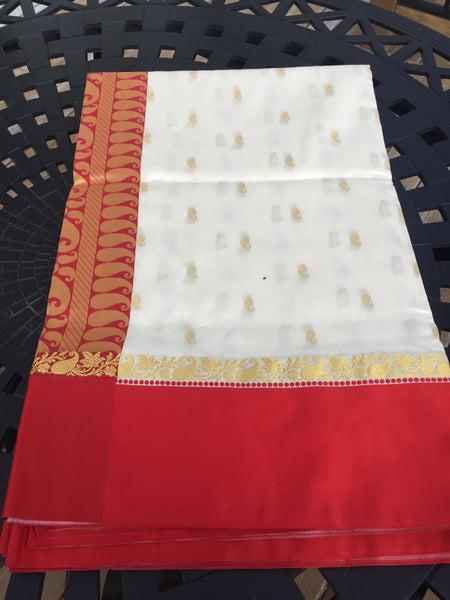 Red and White Kanchi Silk Saree