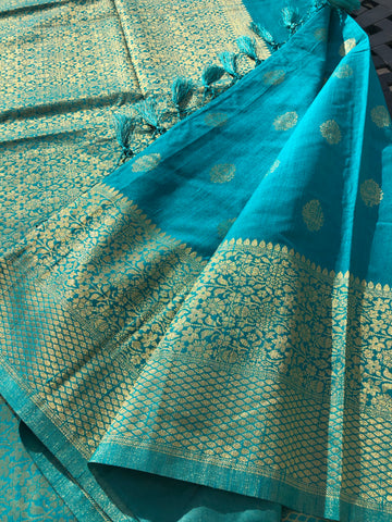 Turquoise Crepe Silk Saree with Golden Butta's and Tassel on Aachal