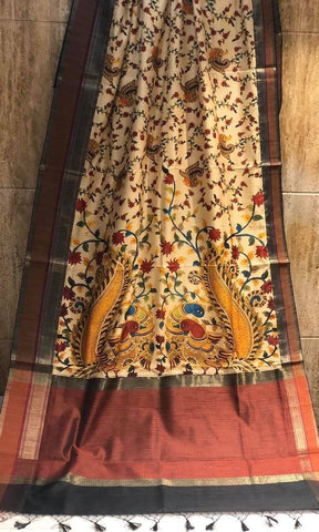 Kalamkari Print on Handloom Silk Saree