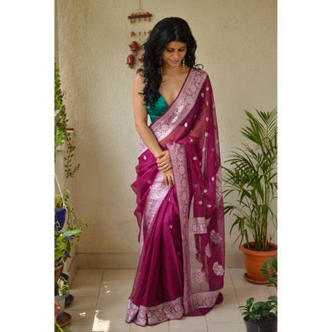 Pure Deep Wine Purple and Silver Handwoven Khaddi Chiffon Georgette Saree