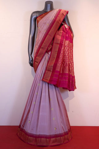 Traditional South Silk Saree In Iridescent Pink and Rani Pink