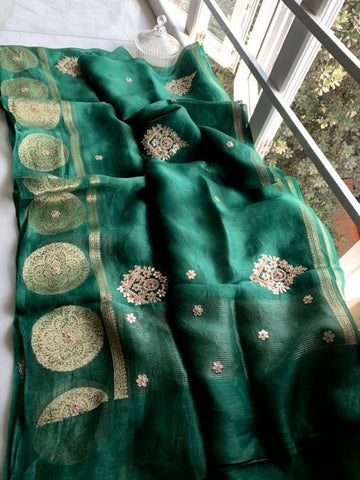 Bottle Green Linen Saree with Gotapati Work