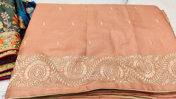 Peach Baby Pink Shaded Tussar Handloom Silk Saree with Beige Kashmiri Thread Embroidery