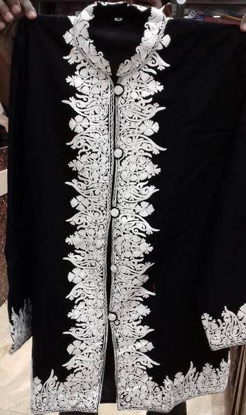 Black and White Pure Wool Kashmiri Embroidered Jacket