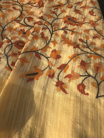 Soft Raw Silk Geecha with Thread Embroidery work and Zari Border
