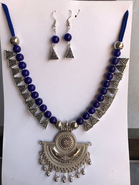 Navy Blue and German Silver Necklace with Jhumka Pendant with Earrings