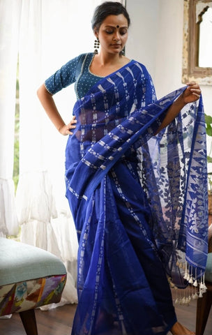 Blue and White Cotton Jamdani Saree