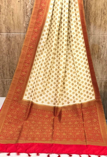 Red and White Raw Handloom Silk