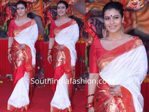 Red and White Pure Handwoven Silk Paithani