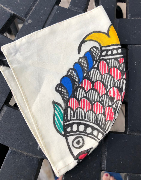 Two Ply Organic Cotton Fashion Mask with Hand-Painted Madhubani motives, Washable and Reusable Face Mask