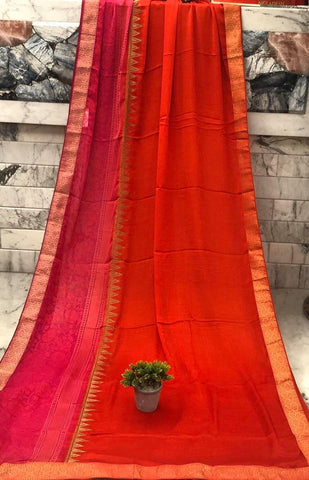 Red and Hot Pink Crepe Chiffon Silk Saree