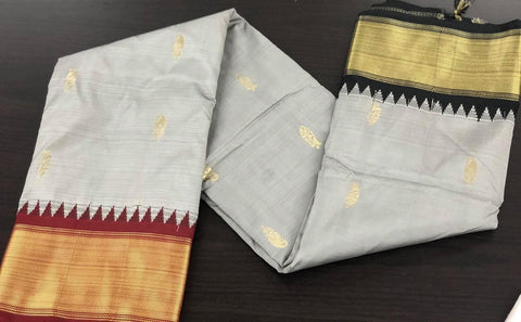 Grey/Silver Soft Silk Saree with Dual Tone Shaded Maroon & Black Ganga Jamuna Border with Buttas
