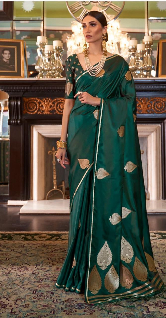 Green Satin Silk Saree