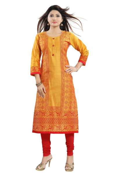 Beautiful Yellow Color Kurta with Design on Red Color