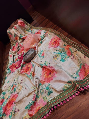 Multicolored Floral Embroidered Silk Saree