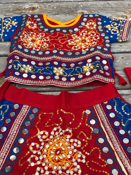 Girls Rajasthani Ghagra Choli with Dupatta in bright colors with Mirror Work