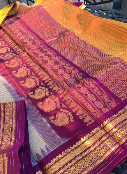 Biscuit Beige Sico Gadwal with Purple and Yellow Gold Temple Border
