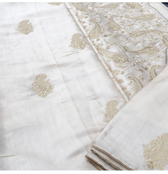 Beige Golden Shaded Tussar Handloom Silk Saree with Embroidered Thread Work