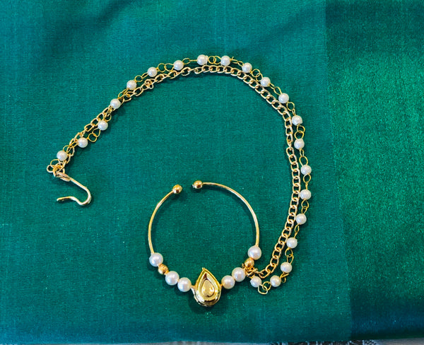 Bengali 2 Layered Large Faux Nose Ring - Pearl Nath with Polki and 2 Strands