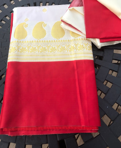 Red and White Silk Saree with Golden Butta