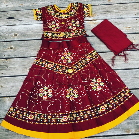 Girls Handmade Lehenga Ghagra Choli Maroon and Yellow chaniya choli For Girls Ethnic Indian Dress