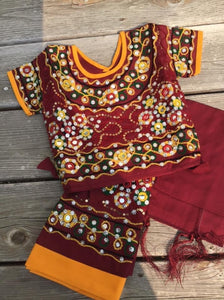 Indian Kids Handmade Lehenga Choli Maroon and  Yellow chaniya choli For Girls Ethnic dress, Traditional dress.